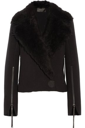 CALVIN KLEIN COLLECTION Shearling-paneled wool jacket