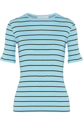 KÉJI Striped ribbed stretch cotton-blend T-shirt