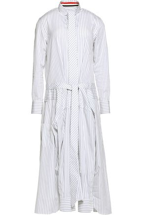 THOM BROWNE Shirt-effect tie-front striped cotton-poplin midi dress