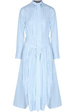 THOM BROWNE Shirt-effect tie-front striped cotton-poplin midi dress