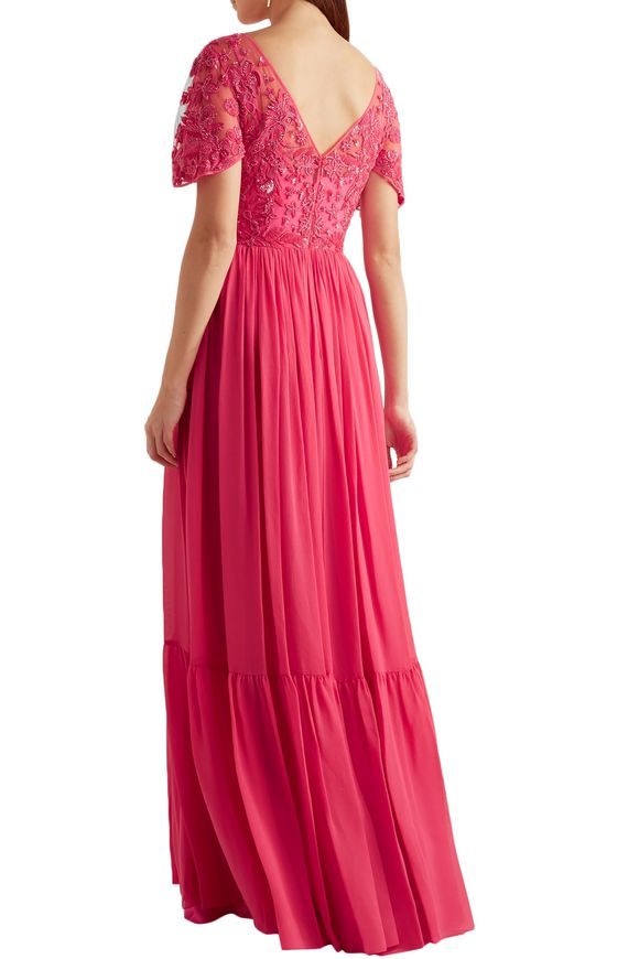 Embellished embroidered tulle and pleated silk-blend georgette gown | ZUHAIR  MURAD | Sale up to 70% off | THE OUTNET