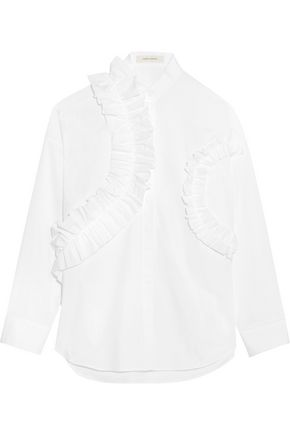 CEDRIC CHARLIER Ruffled cotton-blend poplin shirt