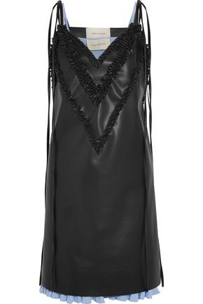 CEDRIC CHARLIER Faux leather slip dress