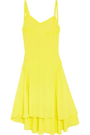 CEDRIC CHARLIER Open-back ruffle-trimmed crepe dress