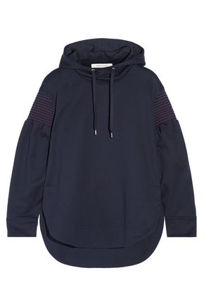 CEDRIC CHARLIER Smocked cotton-terry hooded sweatshirt