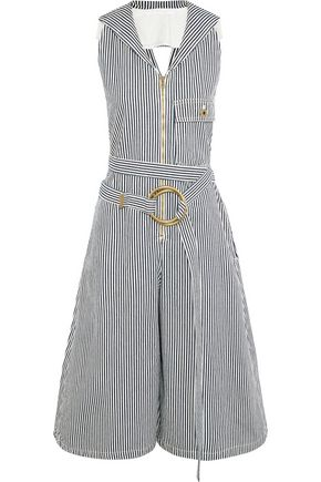 CHLOÉ Open-back belted striped cotton-twill jumpsuit