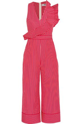 MSGM Cropped ruffle-trimmed striped cotton jumpsuit