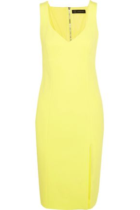 WOMAN SPLIT-FRONT CREPE DRESS BRIGHT YELLOW
