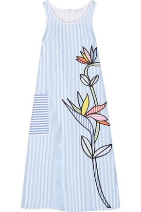 MIRA MIKATI Bird of Paradise appliquéd striped cotton-twill midi dress