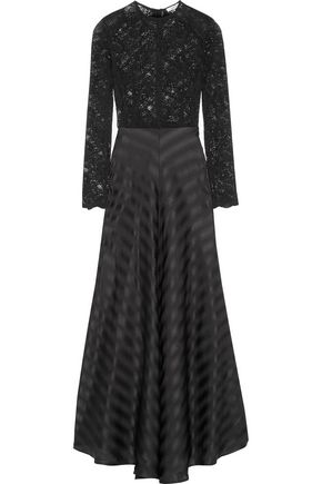 GANNI Kendal lace and silk-jacquard gown