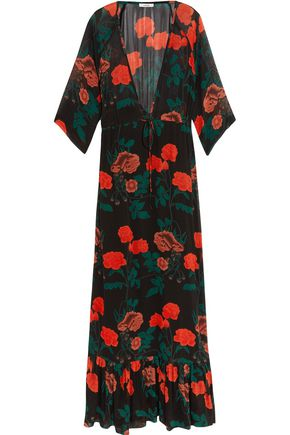 GANNI Gathered floral-print crepe de chine maxi dress