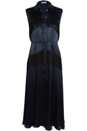 GANNI Fringed printed crepe-satin maxi dress