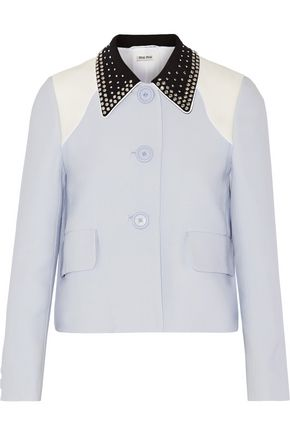 MIU MIU Embellished color-block crepe jacket