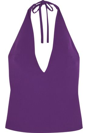 Gareth Pugh WOMAN CREPE HALTERNECK TOP PURPLE