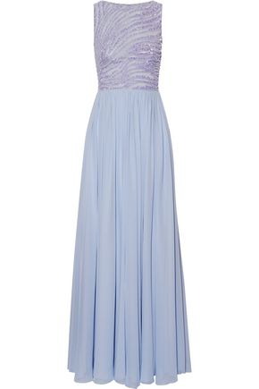 ZUHAIR MURAD Embellished silk-blend tulle and georgette gown