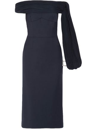 GABRIELA HEARST Off-the-shoulder pleated wool-blend crepe midi dress