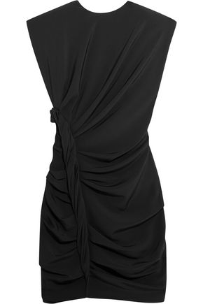 CARMEN MARCH Ruched knotted crepe mini dress