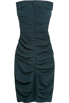 CARMEN MARCH Strapless ruched crepe midi dress