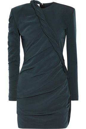 Carmen March WOMAN RUCHED TWISTED CREPE MINI DRESS PETROL