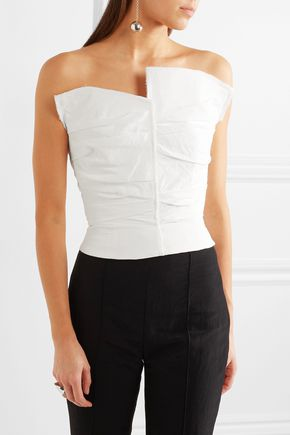 CARMEN MARCH Strapless ruched crepe top