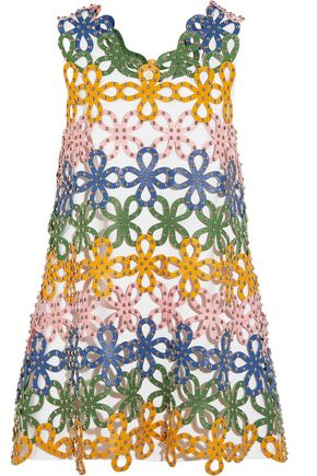 SARA BATTAGLIA Studded laser-cut leather mini dress