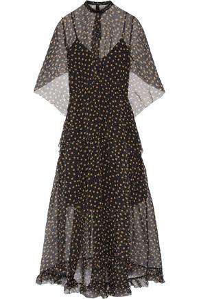 PETAR PETROV Fluted crinkled printed silk-georgette midi dress