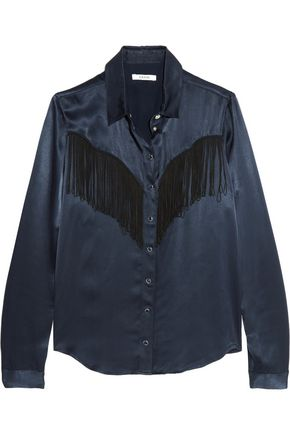 GANNI Two-tone fringed crepe-satin shirt