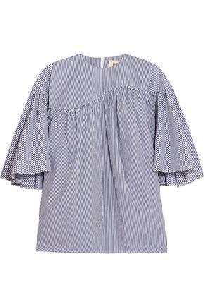 A.W.A.K.E. Ruffled striped cotton-poplin blouse