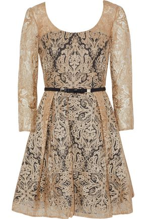 MIKAEL AGHAL Belted metallic embroidered tulle mini dress