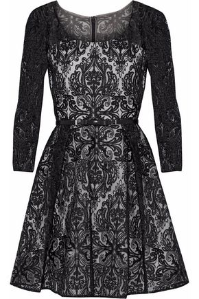 MIKAEL AGHAL Embroidered tulle flared mini dress