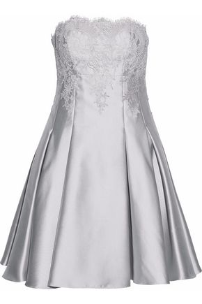 MIKAEL AGHAL Metallic lace-paneled pleated twill dress