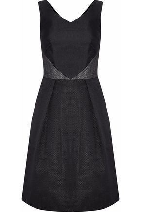 MIKAEL AGHAL Paneled jacquard and faille dress