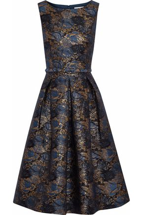 MIKAEL AGHAL Belted pleated brocade dress