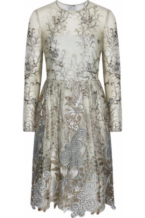 MIKAEL AGHAL Metallic embroidered tulle dress