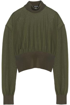 BALMAIN Cropped knitted turtleneck top