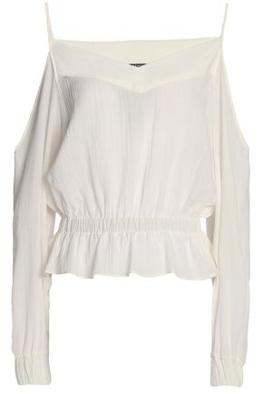BALMAIN Cold-shoulder cotton-voile peplum top