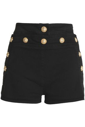 BALMAIN Button-detailed denim shorts