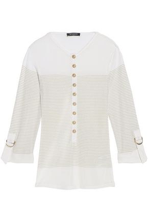 BALMAIN Metallic striped stretch-knit top