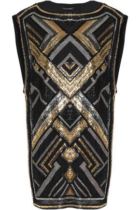 BALMAIN Embellished silk mini dress