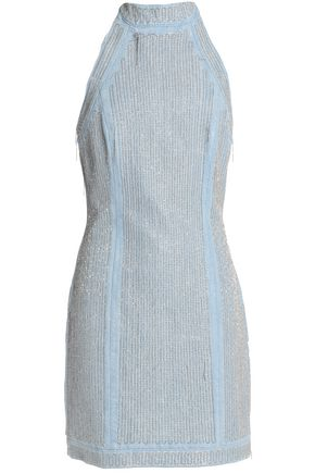 BALMAIN Embellished denim halterneck mini dress