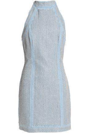BALMAIN Embellished denim halterneck mini dress