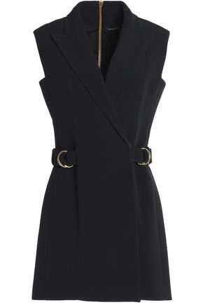 BALMAIN Buckled crepe wrap mini dress