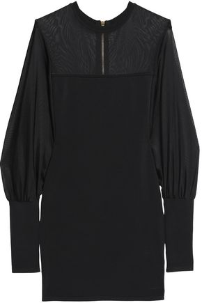 BALMAIN Gathered stretch-ponte mini dress