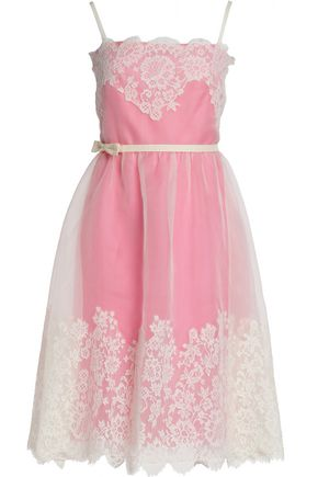 VALENTINO Bow-detailed lace and silk-organza dress