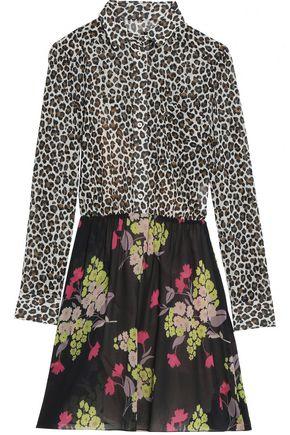 REDValentino Printed silk-chiffon mini shirt dress