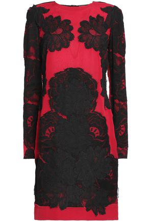 LANVIN Satin-paneled lace-embroidered two-tone silk mini dress