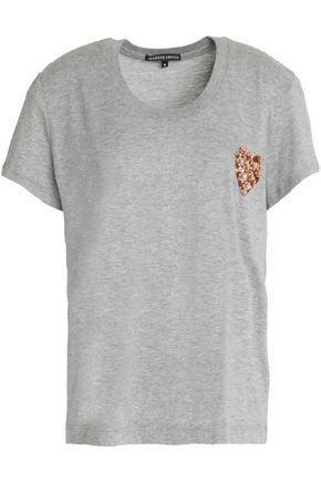 MARKUS LUPFER Sequin-embellished mélange cotton-jersey T-shirt