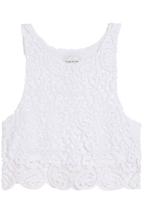 MIGUELINA Cropped cotton guipure lace top