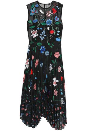 MARKUS LUPFER Pleated embroidered silk-organza midi dress