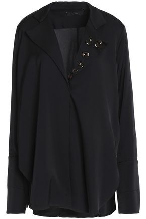 ELLERY Button-embellished silk-blend shirt